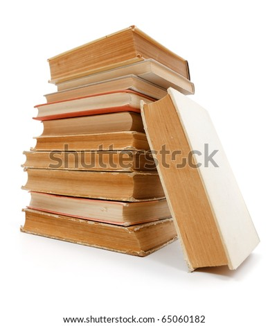 Wide angle view of a stack of old books