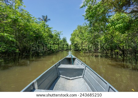 Wide angle view of boat and canal in Rio Negro, Brazil. (Amazon River) - stock photo