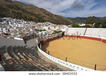 wide angle view of Bull ring at Mijas - stock photo