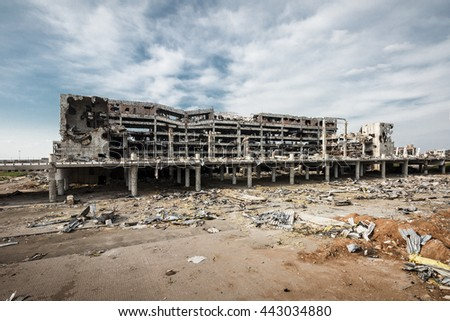 Wide Angle view of donetsk airport ruins after massive artillery shelling