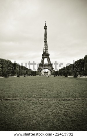 Wide-angle view of Eiffel Tower from Champ-de-Mars