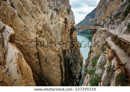 Wide angle view of 'El Caminito del Rey' (King's Little Path) footpath, one of the most Dangerous in the world, reopened in 2015. Malaga, Spain.