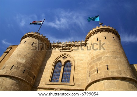 Wide angle view of Gate and fort at Saladin Citadel of Cairo, Egypt - stock photo