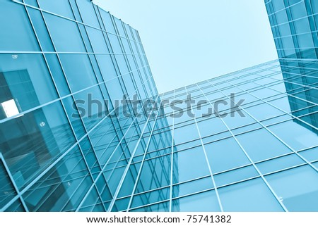 wide angle view of glass transparent wall