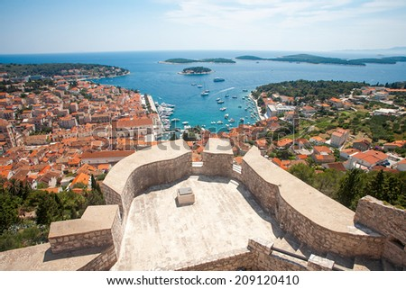Wide angle view of Hvar city from the spanish fortress in Croatia - stock photo