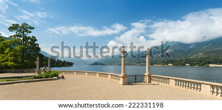 Wide angle view of Lake Como seen from the romantic  garden terrace of Villa Melzi in Bellagio, Lake Como, Northern Italy, Europe - stock photo