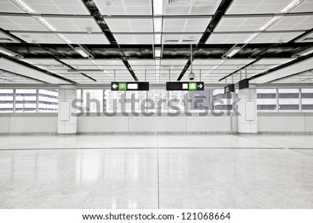 Wide angle view of modern metro station - stock photo