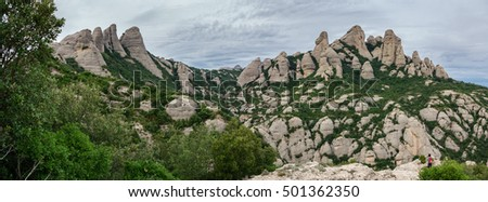 Wide angle view of montserrat mountains, Spain