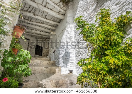 Wide angle view of street and house entrance with plantpots in Capileira, Granada, Spain