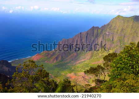 Wide angle view of the Kalalau Valley on the Na Pali Coast of Kauai, Hawaii