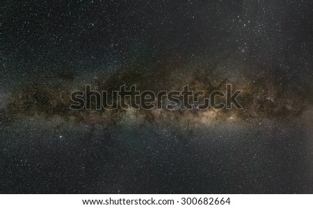 Wide angle view of the Milky Way. Central zone. - stock photo