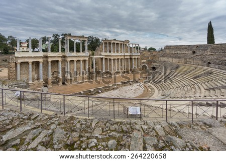 Wide angle view of The Roman Theatre Merida, Extremadura, Spain - stock photo