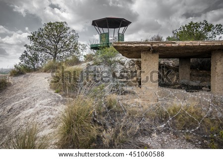 Wide angle view of vigilance point of abandoned military zone - stock photo
