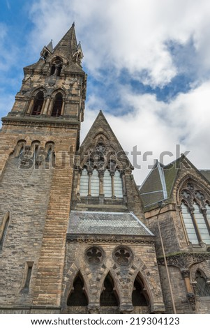 Wide angle view of vintage facades of St John's Tolbooth Church in Edinburgh