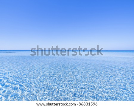 Wide angle view on seascape / Crete Greece, Ionian see / - stock photo