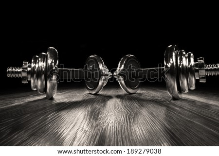 wide-angle view: the dumbbell - stock photo