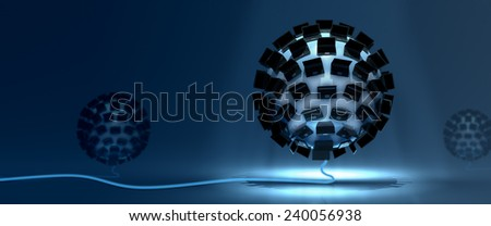 Wide Blue environment representing a quantum computer technology - stock photo