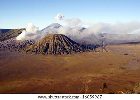 Wide caldera and vulcanos, Java, Indonesia - stock photo