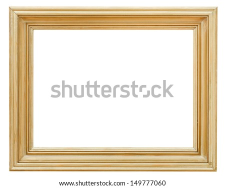 wide clacssical gilded picture frame with cutout canvas isolated on white background