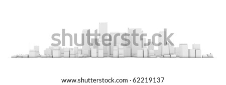 wide 3D cityscape model in white with a white background - buildings are casting no shadows - stock photo