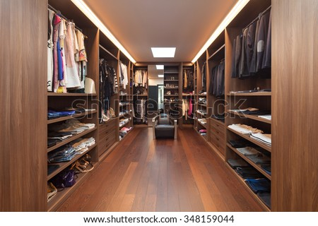 wide dressing room, interior of a modern house - stock photo