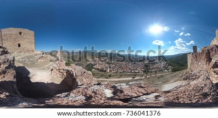 Wide Equirectangular Projection 360 Degree View Of Jalance With Cofrentes Nuclear Plant
