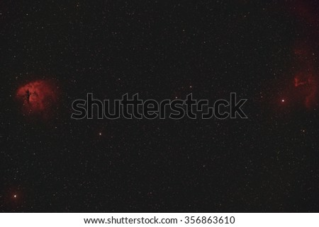 Wide Field View of the Pacman and Gamma Cassiopeia Nebula - stock photo