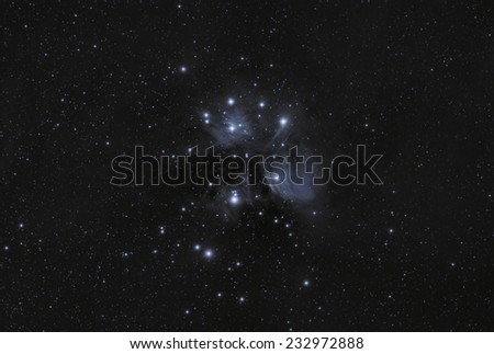 Wide Field View of The Pleiades or Seven Sisters - stock photo
