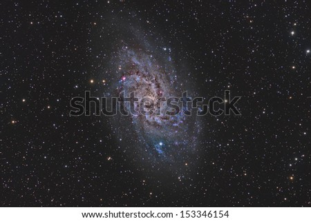 Wide Field View of the Triangulum Galaxy - stock photo