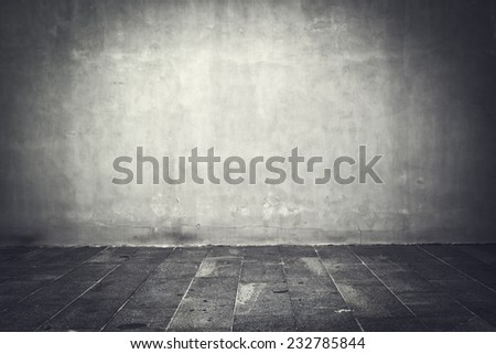 Wide grunge vintage background, empty room interior as backdrop - stock photo