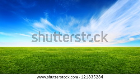 Wide image of green grass field and bright blue sky - stock photo