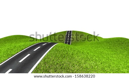 Wide image of green grass field and road. Isolated background.  - stock photo