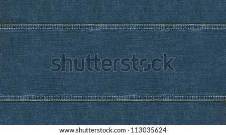 Wide jeans texture with seam - stock photo