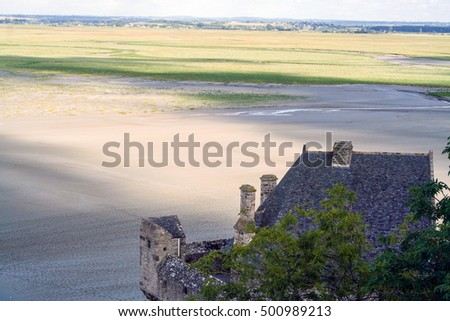 wide landscape  from mont saint michel abbey,  with low tide, Normandy, France