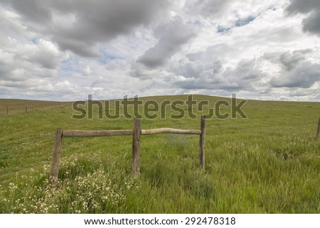 Wide landscape view of the beautiful spring countryside of the Alentejo region, Portugal. - stock photo