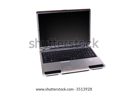 Wide laptop on white background