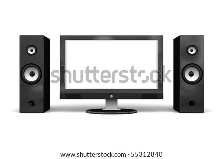 Wide LCD/plasma TV with speakers, on white background