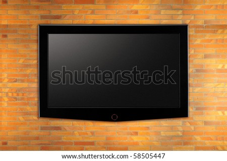 Wide LED television. - stock photo