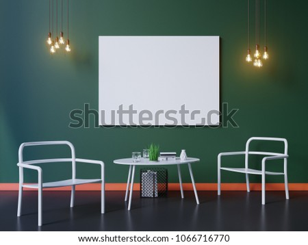 wide modern green wallpaper mock interior stock illustration