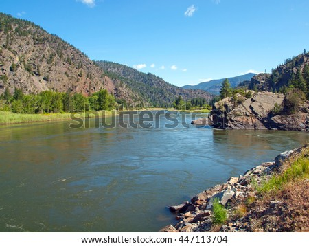 Wide Mountain River Cuts a Valley - Clark Fork River Montana USA