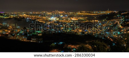Wide night panorama of Jerusalem city, Israel - stock photo