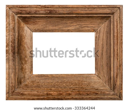 wide oak wood picture frame with cut out blank space isolated on white background - stock photo