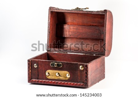 Wide open old antique chest isolated on white background