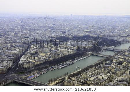 Wide panorama from Eiffel tower to river Seine, Pont Alexandre III, Grand Palais, Place de la Concorde, Paris - stock photo