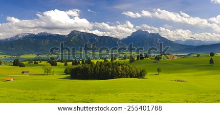 wide panorama landscape with alps mountains in Bavaria, Germany - stock photo