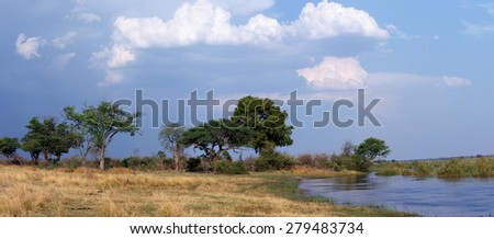 wide panorama of african landscape in national park nambwa on Caprivi Strip Namibia - stock photo