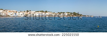 Wide panorama of Cadaques in Spain - stock photo