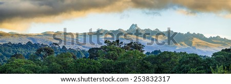 wide panorama of mount Kenya at dawn