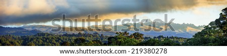 wide panorama of Mt Kenya and its rain forests - stock photo