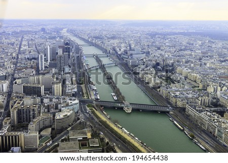 Wide panorama of river in Paris from Eiffel tower